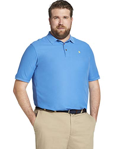 IZOD Men's Big and Tall Advantage Performance Solid Polo, Blue Revival, 5X-Large Tall