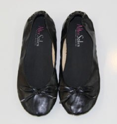7-8.5 AfterSoles Rollable Ballerina Flats With Separate Shoe Bag Black Medium