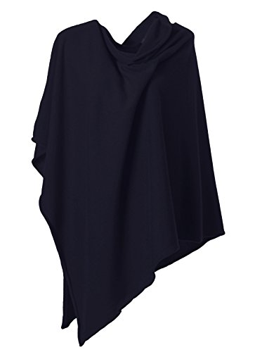 Anna Kristine Asymmetrical 100% Cashmere Draped Poncho Topper - Midnight Black by Anna Kristine