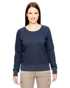econscious Womens 7 Oz. Organic/Recycled Heathered Fleece Raglan Pullover (EC4505)- Water,Large