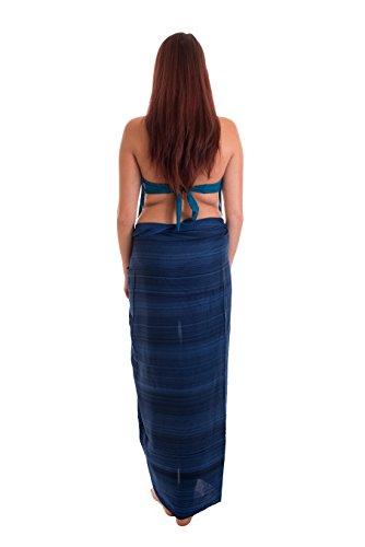 Sarong, toalla de playa, chal, hecho a mano, opaco, aprox. 170x 110cm, varios colores Blau Streifen