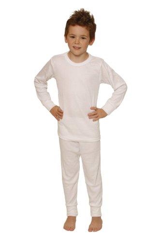 Octave Boys Thermal Underwear Set: Long Sleeve Vest & Pants [6/8 Yrs, White]