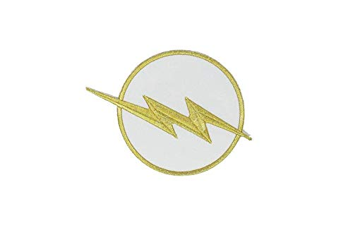 THE FLASH White & Gold Chest Emblem RED Halloween TV Show DC Comics Costume Jacket Shirt Hat Cap Embroidered Patch Easy Iron -