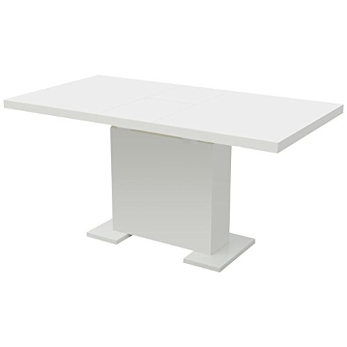 vidaXL Extendable Dining Table High Gloss White Kitchen Dining Room Dinner