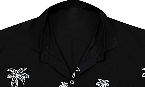 Stampa Regular La Fit Xs Tasca Uomo frontale Hawaiano Corta Leela Nerop028 Hawaii Camicia Manica Hawaiana Nero Shirt 5xl w886 Casuale Zxq7Zn1