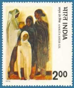 - Sams Shopping Modern India Paintings - Amrita Shergil Painting Hill Women Rs 2 Stamp