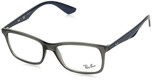 Ray-Ban RX7047 Rectangular Eyeglass Frames, Transparent Grey Black/Demo Lens, 56 mm (Best Ray Ban Prescription Glasses)