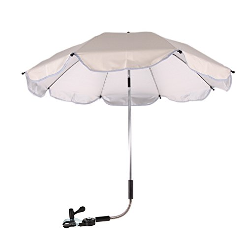 Whitelotous Baby Stroller UV Protection Umbrella 360 Degrees Adjustable Direction Stroller Accessories (White)
