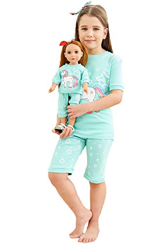 Babyroom Girls Matching Doll&Toddler 4 Piece Cotton Pajamas Kids Clothes Sleepwear Size 2 ()