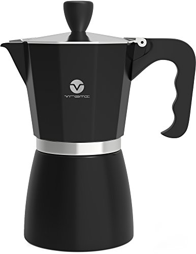 Vremi Stovetop Espresso Maker – Moka Pot Coffee Maker for Gas or Electric Stove Top – 6 Cups Demitasse Espresso Shot Maker for Italian Espresso Cappuccino or Latte – Black