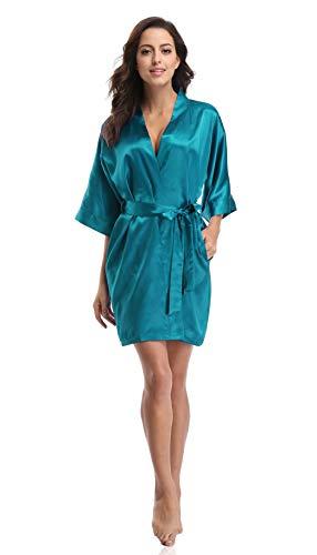 Luvrobes Women's Satin Kimono Robe, Solid Color, Short (Peacock Blue, XXL)