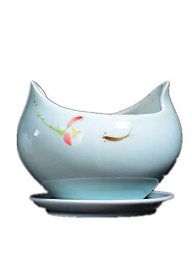 nyshdan Celadon Fleshy Flower Pot with Tray Large Ceramic Simple Green Radish Fleshy Meat Green Orchid Flower Pot ()