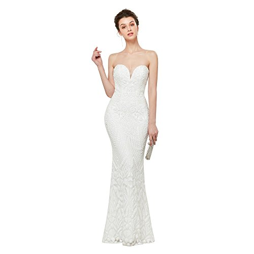 Leyidress Women's Sexy Sequins Trumpet Mermaid Dresses Evening Dress Long Party Prom Gown 4