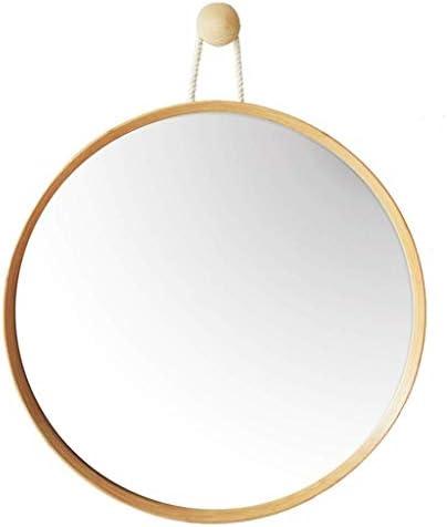 竹円形のハンギングミラーラウンド化粧HD鏡用Entrywaysトイレリビングルームバスルームメイクアップ 化粧鏡 (Size : 45CM)