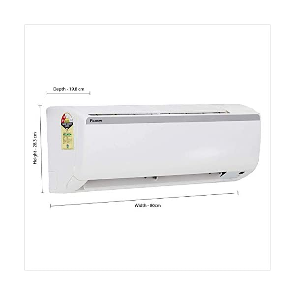 Daikin 1 Ton 2 Star Split AC (Copper FTQ35TV White) 2021 July Split AC with non-inverter compressor: Low noise. Affordable compared to inverter split ACs Capacity: 1 Ton. Suitable for small sized rooms (< = 110 sq ft) Energy Rating: 2 Star. Annual Energy Consumption: 752 units. ISEER Value: 3.45 (Please refer energy label on product page or contact brand for more details)