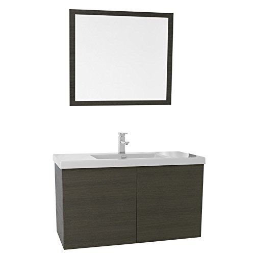 """Iotti Iotti SE100 Space Bathroom Vanity with Ceramic Sink and Mirror Included, 39"""", Grey Oak delicate"""