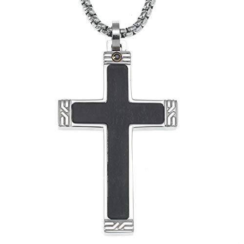 Jame Dean Wood Inlay Cross Pendant Necklace
