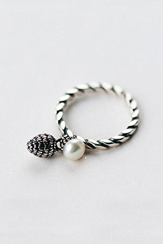 Generic Korean 925 sterling silver ring opening retro twist Thai national wind natural pearl silver birthday gift by Generic