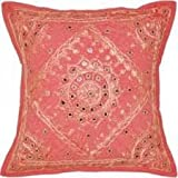 "NANDNANDINI - 16"" PINK EMBROIDERED DECORATIVE THROW PILLOW CUSHION COVER Boho Bohemian Decor"