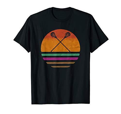 Vintage Retro Lacrosse Player Silhouette Sun Gift T-Shirt
