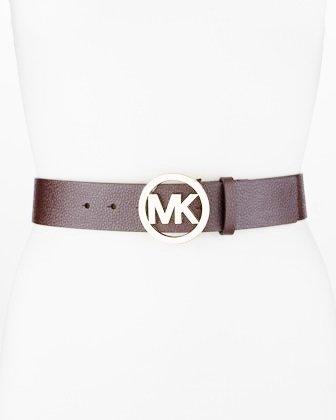 Michael Kors Mk Logo Gold Buckle Belt Chocolate Brown Size XL