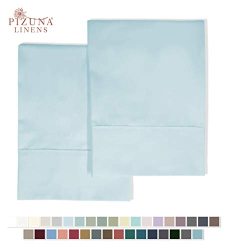 Pizuna 400 Thread Count Cotton Standard Pillowcases Light Blue 100% Long Staple Cotton Cool Satin Pillowcase with Stylish 4 inch Hem Set of 2 Pillow Cover (Baby Blue Standard 100% Cotton Pillow Cases)