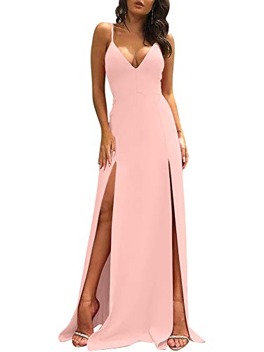 TOB Women's Sexy Sleeveless Spaghetti Strap Backless Split Cocktail Long Dress Pink