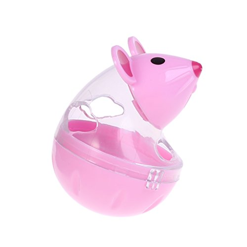 Richi Pet Food Dispenser Mouse Tumbler Toys Interactive IQ Training Mental Stimulation (Pink)