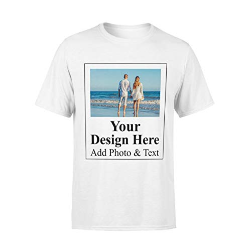 Arokan Customize Shirts for Men Custom T Shirts Design Your Own Crew Neck Mens Personalized Tshirts, White