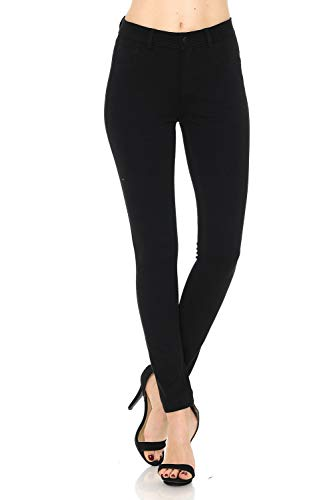 Auliné Collection Womens Solid Slim Fit Color Skinny Stretchy Ponte Pants Black ()
