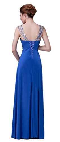 Damen Blau Perlen Prom V Kmformals Kleider Straps Ausschnitt ZdWFZxq