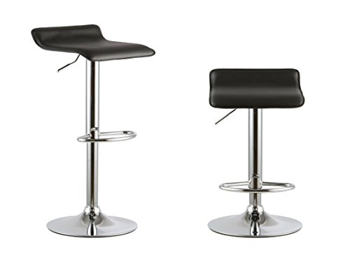 Set of 2 PU Leather Modern Adjustable Swivel Barstools Hydraulic Chair Bar Stool(Black)