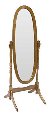 "Crown Mark Cheval Mirror, Oak - Oak cheval mirror Rubber wood construction 23.25 x 19.25 x 59.5""H - mirrors-bedroom-decor, bedroom-decor, bedroom - 31GadV9F%2B9L -"