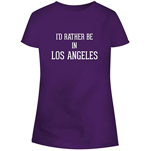 One Legging it Around I'd Rather Be in Los Angeles - Women's Soft Junior Cut Adult Tee T-Shirt, Purple, X-Large
