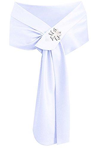 Women's Shawl Wedding Shawl Formal Wrap Silky Party White Satin for Shrug qYEdq7w