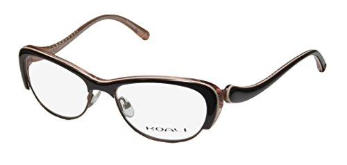Koali 7056k Womens/Ladies Rx-able Unique Design Cat Eye Full-rim Eyeglasses/Glasses (50-16-135, Brown / - Glasses Square Face For Cat Eye