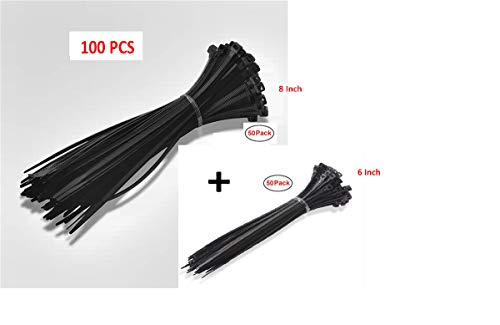 Wrap Cord Adjustable Durable Self locking Strong Zip Tie Wire Straps Combo 2 Size 6 and 8 Inch Length Total 100 Pack ()