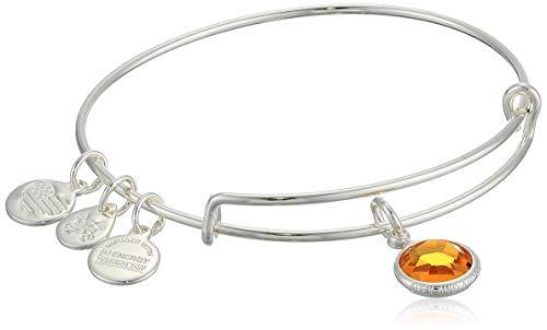 Alex and Ani Women's Swarovski Color Code Bangle November Topaz Bracelet, Shiny Silver, Expandable