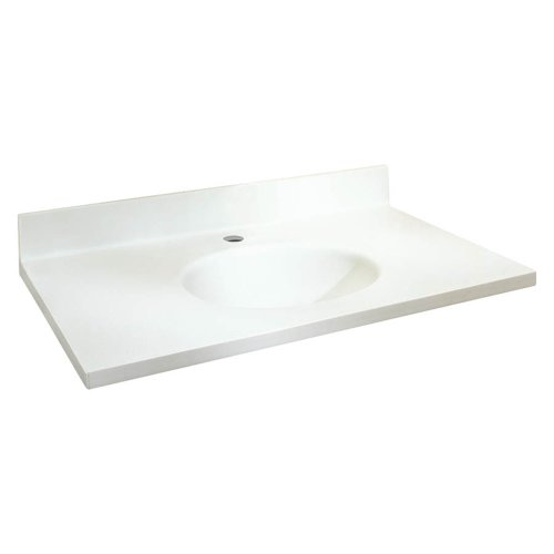 (Samson ITB3122-01-1 Solid Surface 31x22 Chelsea Vanity Top with Integral Bowl and 1-Hole Eased Edge,)