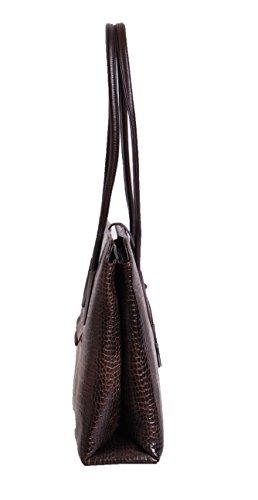 Enterprise luxe Sac en cuir véritable pour les femmes Croc Imprimer main Mesdames ALMA Brun