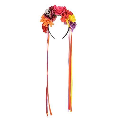 Vividsun Day of The Dead Headband Costume Rose Mexican Flower Headband (F/skull purple ribbon) (Day Of The Dead Skull And Roses)
