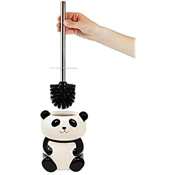 Isaac Jacobs Black and White Ceramic Panda Toilet Bowl Brush Holder with Chrome Metal Handle (Unassembled) - Bathroom Accessory & Cleaning Storage (Panda)
