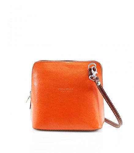 Abz VP011 bandolera auténtica Naranja bolso de piel Mujer gA1gwr