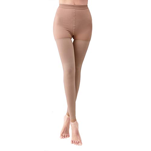 Compression Pantyhose Stockings Therapeutic Firm Support 20-30 mmHg Opaque Closed Toe - Helps Relieve Symptoms of Spider Veins.(9Nude-M)