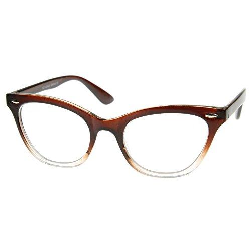 Lens Gradient Frame (AStyles - Vintage Inspired Gradient Half Tinted Frame Clear Lens Wayfarer Cat Eye Glasses (Brown-Clear-Bottom, Clear))