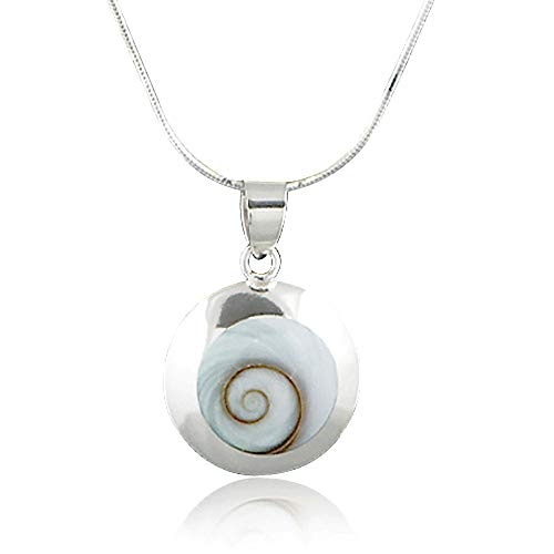 - 925 Sterling Silver Natural Shiva Eye Shell Inlay Round Pendant Necklace, 18 inches