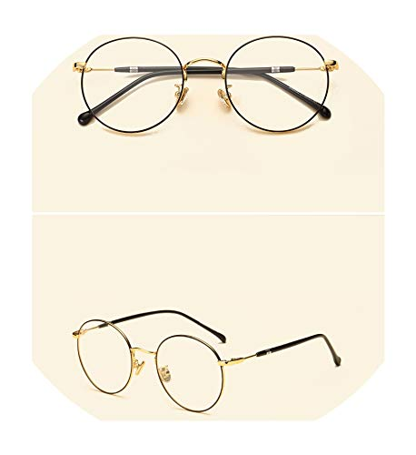 (Retro Round Frame Metal Glasses Frame Fashion Thin Side Myopia Reading Glasses Frame Comfortable Diopter Optical Glass,Black Gold)