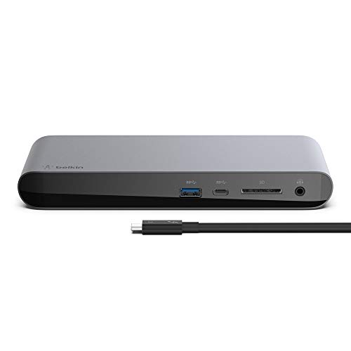 Belkin Thunderbolt 3 Dock Pro w/ 2.6ft Thunderbolt 3 Cable (Thunderbolt Dock for MacOS and Windows) Dual 4K @60Hz, 40Gbps Transfer Speeds, 85W Upstream Charging from Belkin