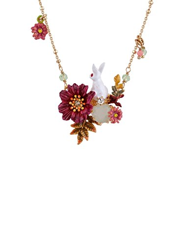 Les Néréides FANTASY GARDEN RABBITAND FLOWER AND STONE SHORT NECKLACE - WHITE PINK GREEN GOLD - O/S by Les Néréides