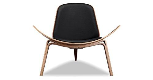 Couch Italian Black (Kardiel Tripod Plywood Modern Lounge Chair, Black Italian Leather/Walnut)